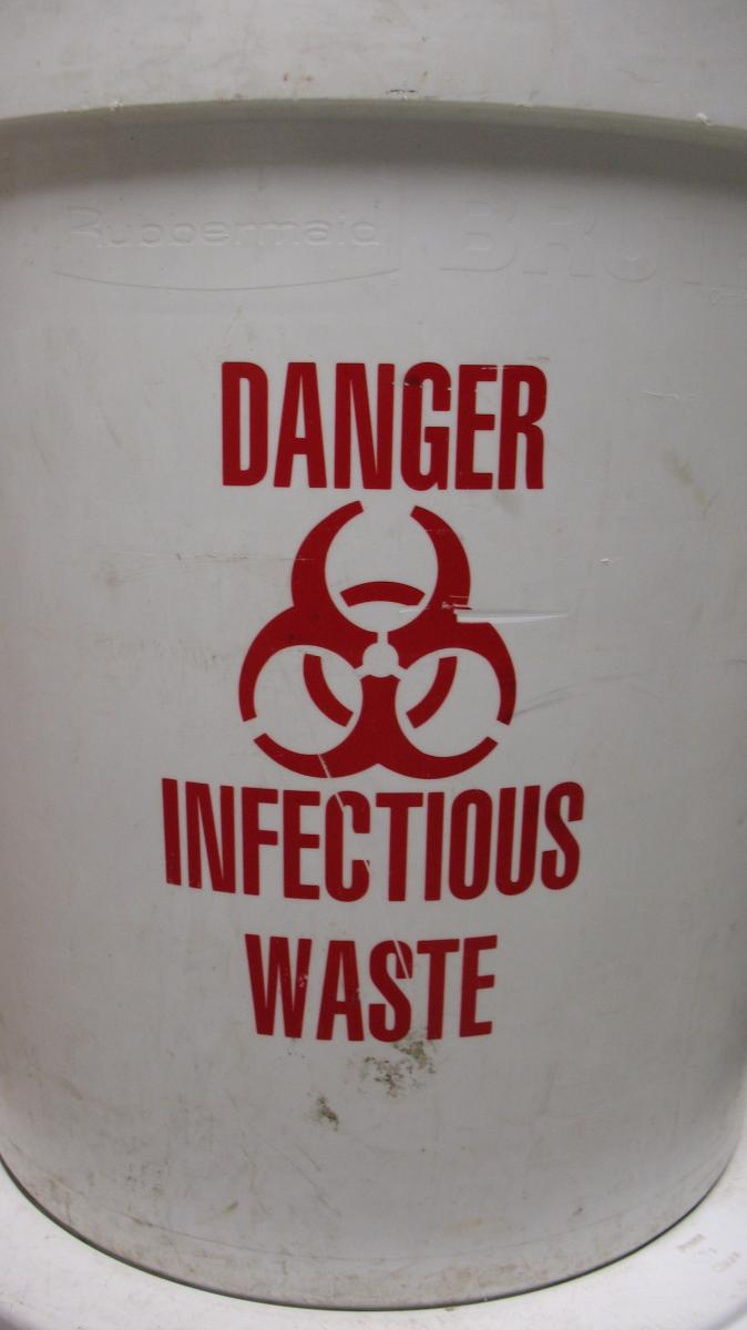 Infectious waste container