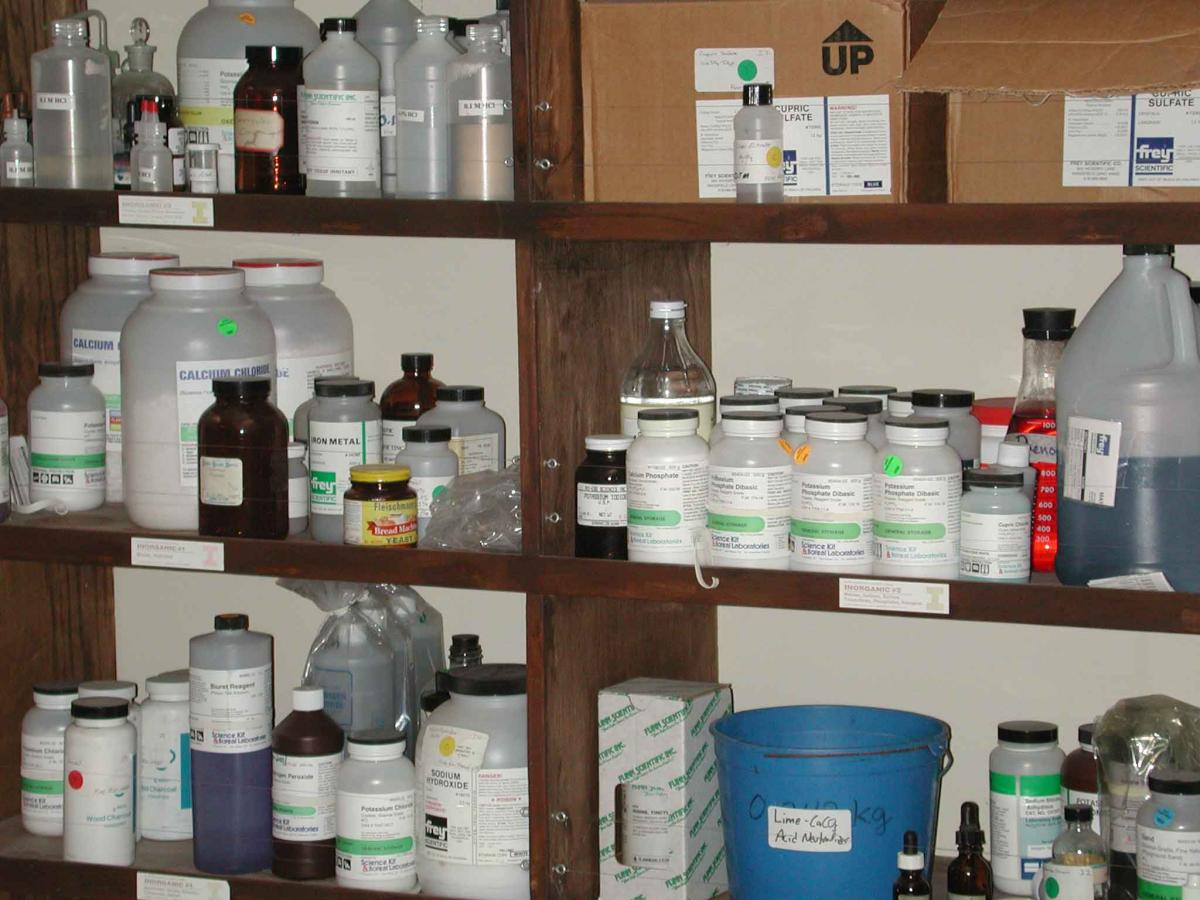 Chemical storage on shelves
